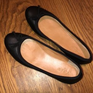 J. Crew Black Leather Slip On Ballet Flats